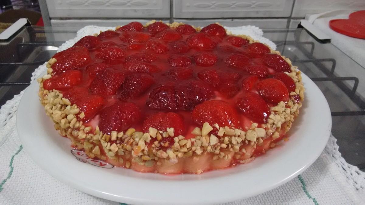 Torta de morango e amaranto